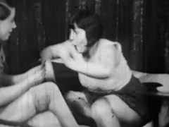 Lesbian Girls at Cards Catfighting 1940
