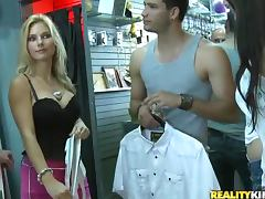 Sex with cute girl fucked in clothing store