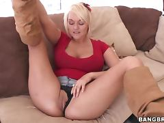 Horny Blonde MILF Masturbates For Her Son's Friend video