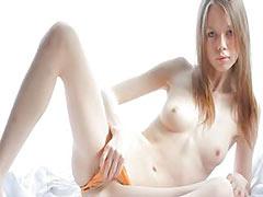 White ultra skinny girl teasing pussy