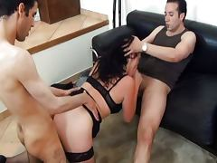 French CheatingWife fucked by 2 young guys