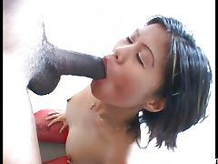 Hot Asian Babe suck a huge black dick