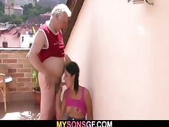 Horny dad bangs his son's GF video
