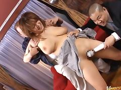 Chichi Asada gets her pussy toyed by two lewd guys