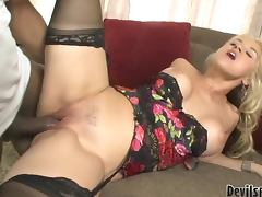 Sex hungry blonde girl gets pounded by her Black stepdaddy