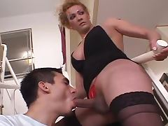 Karen the shemale with huge cock fucks a guy on a sofa