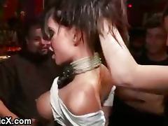 Bound big boobs brunette anal gangbanged in public bar