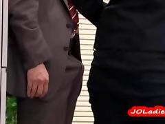 Office Lady Giving Blowjob Jerking Guy Cock In The Busy Office