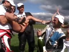 Kinky brunette gets her vag filled with champagne before getting it fucked