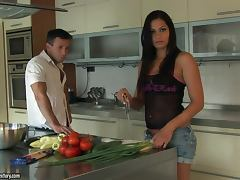 Backstage Fucking A Brunette In The Kitchen