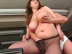 Fat Japanese office chick sucks a cock and gets nailed video