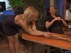 Mandy Bright and Salome have some lesbian BDSM fun indoors