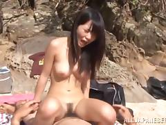 Beach, Amateur, Asian, Beach, Couple, Cowgirl