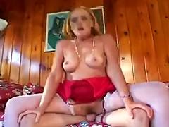 Slutty grandmother sucks copulates her grandson