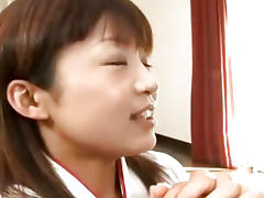 Cute Japanes babe sucks on three cocks Uncensored