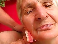 Granny, Blonde, Blowjob, Facial, Granny, HD