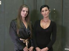 Hot BDSM Lesbian Threesome with Two Submissive Girls Tied and Toyed