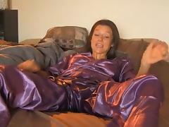girl masterbating through satin pijamas