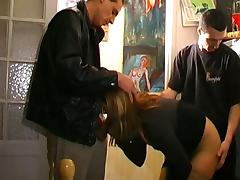 Slutty french milf sucks and fucks three men