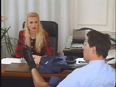 Sexy blond office manager gets fucked by a postman
