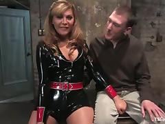 Casper Coxx gets slapped and hogtied by shemale babe Carmen