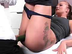Lesbian pussy fucked with cucumber on casting