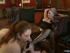 Three lecherous girls play lesbian games in a hot BDSM clip