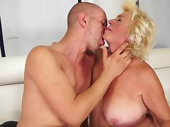 Granny, BBW, Bedroom, Blonde, Blowjob, Chubby