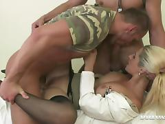 Bisexual soldiers are having a threesome with a busty nurse