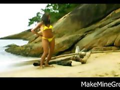 Sweet Ass Brazilian Chick gets boned by the sea