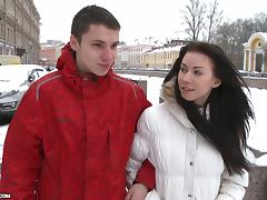Sexy Skinny Brunette Girl Getting Fucked Hard on a Winter Day