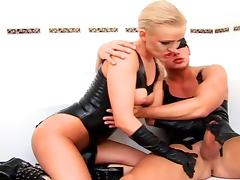 Blonde in latex gets fucked by a blindfolded guy