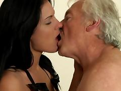 Bikini, Bikini, Blowjob, Brunette, Couple, Grandpa