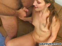 Randy babe in arms is sliding to meet two men elbow a time
