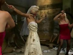 Blonde chick in a wedding dress gets tortured by bridesmaid