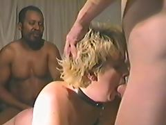 Vintage blonde mom enjoys a hot interracial gangbang