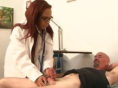 Transsexual doctress in glasses gets rammed in the ass