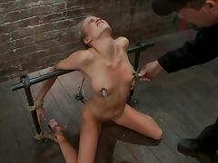 Slender Aiden Aspen gets her tits tortured in bondage video