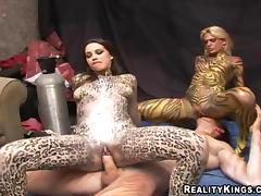 Hot Babes With Body Paintings Go Hardcore In A Reality Video