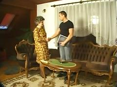 Granny in nylons & with shaggy muff drilled with dude