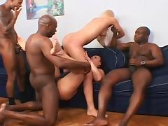 Blonde and two giant black dicks in one scene