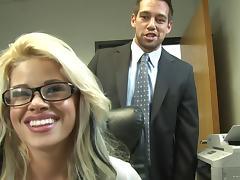 Office, Babe, Blonde, Blowjob, Bra, Close Up