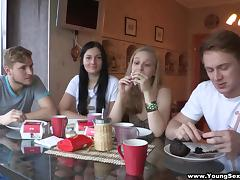 Russian skanks Alice and Inga enjoy foursome sex after a party