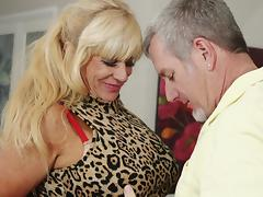 Busty mature blondie Zena Rey gets pounded hard on the couch