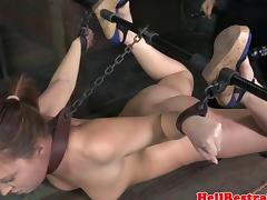 Hogtied bdsm bounded hot sub flogged