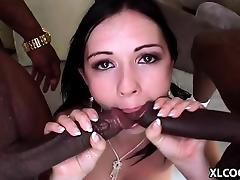 Angell Summers enjoys interracial gangbang