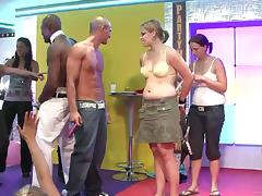 A few kinky chicks strip at a party in hardcore reality video