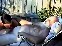 Hairy Grandpa Gets Sucked Off By Young Man