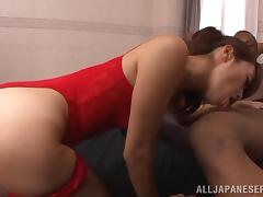 Sexy Japanese Maki Hokujo pleases a black guy with a blowjob