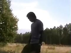 French cuckold hubby films his wife outdoors with african bull
